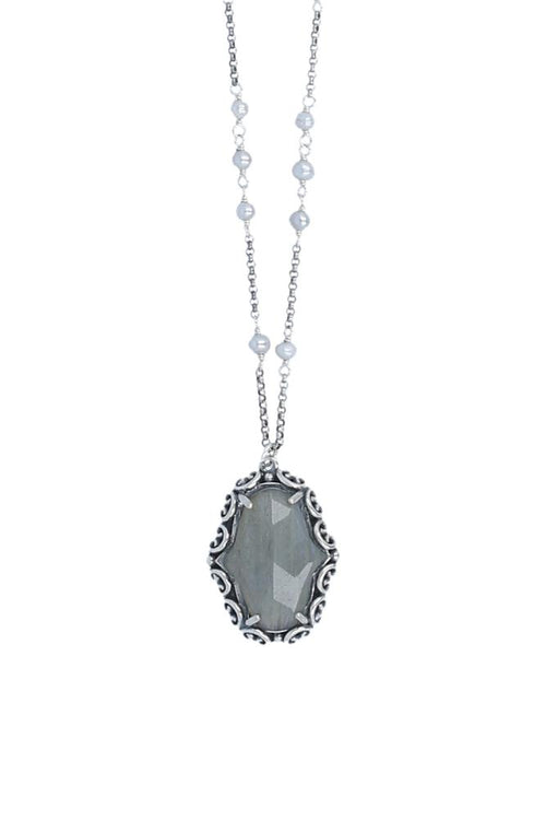 Labradorite Pendant and Pearl Necklace