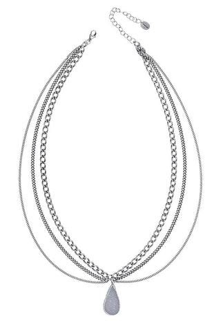 White Horn Silver Long Necklace