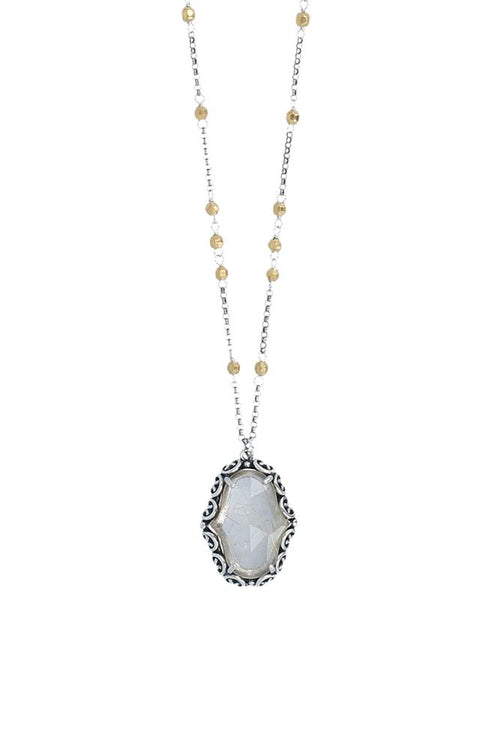 Rutilated Quartz Pendant and Gold Necklace