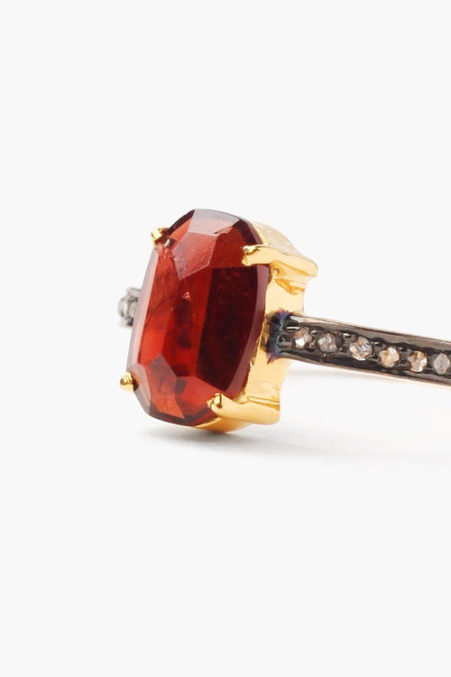 Garnet Pavé Diamond Ring