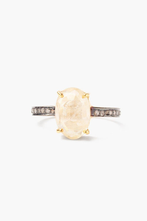 Rutilated Quartz Pavé Diamond Ring