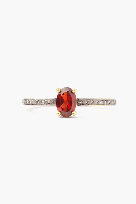 Garnet Oval Pavé Diamond Ring