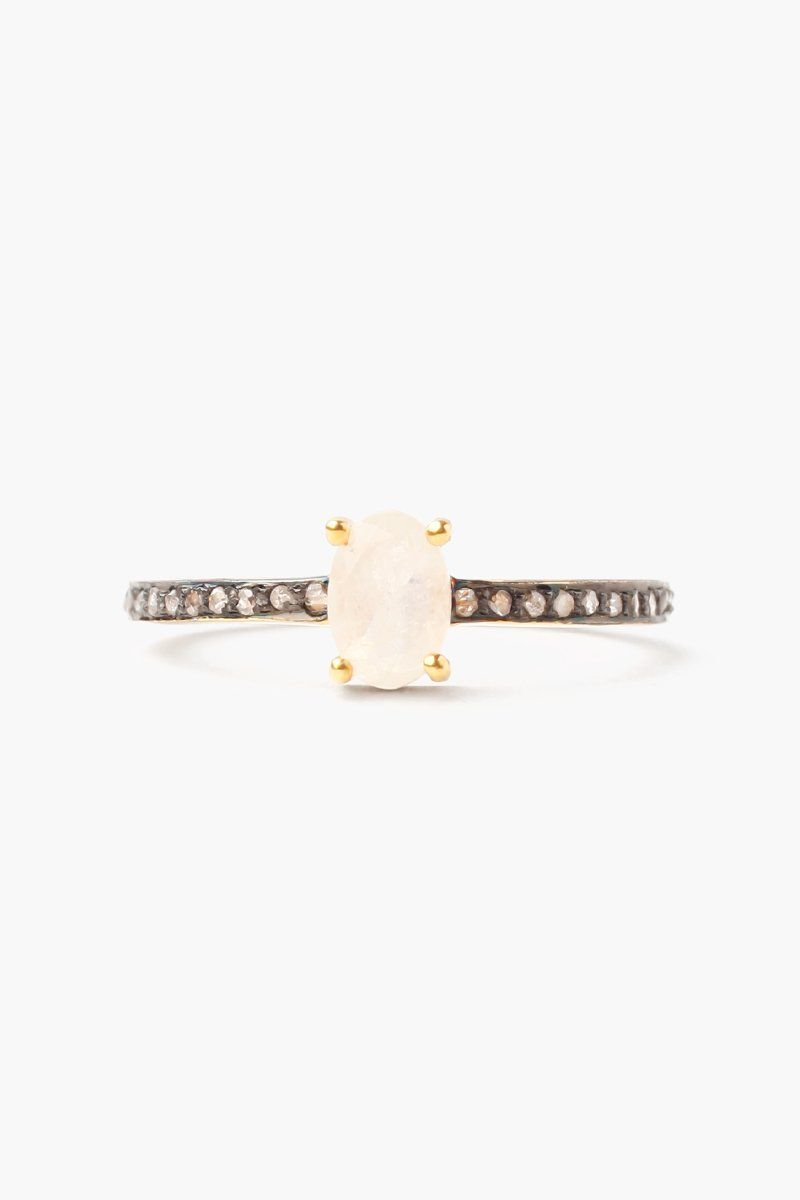 Moonstone Oval Pave Diamond Ring