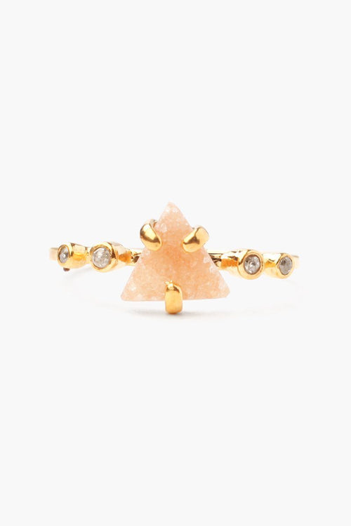 Natural Tan Agate Champagne Diamond Ring