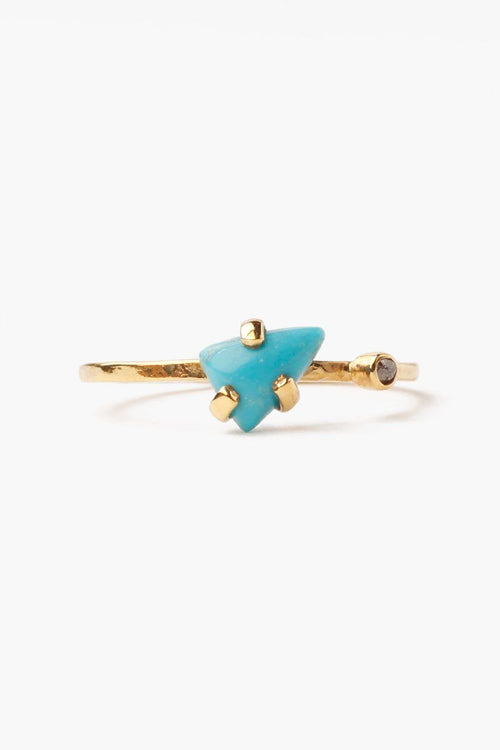 Turquoise Champagne Diamond Ring