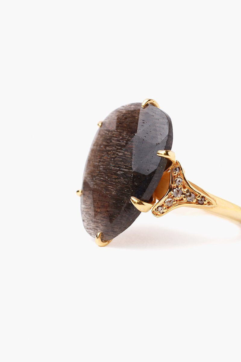 Black Golden Sunstone Ring