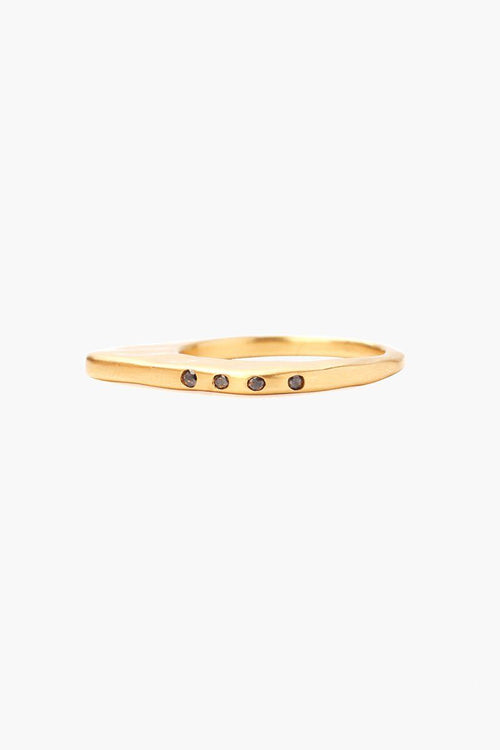 Gold Small Black Diamond Ring