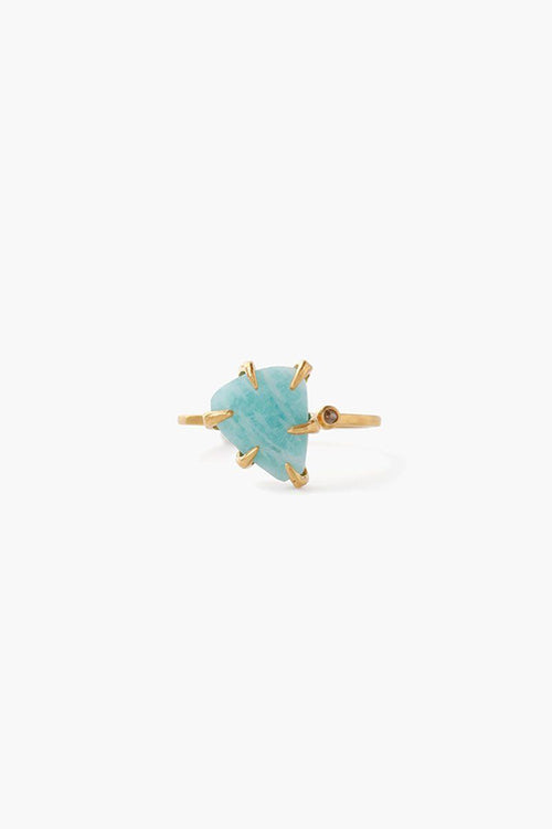 Amazonite Arrowhead and Champagne Diamond Ring