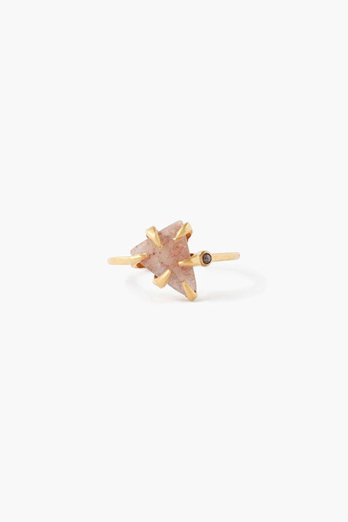Strawberry Quartz Arrowhead and Champagne Diamond Ring