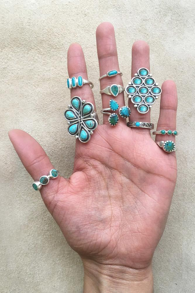 Turquoise Silver Drop Ring