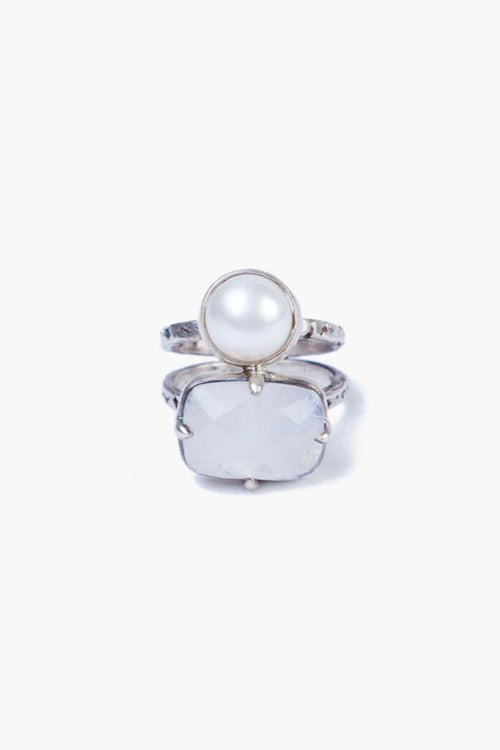 Moonstone Mix White Pearl Ring