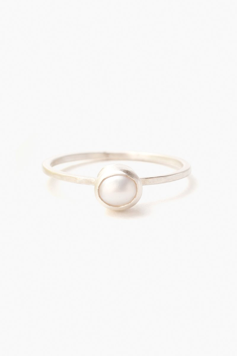 White Freshwater Pearl Stacker Ring