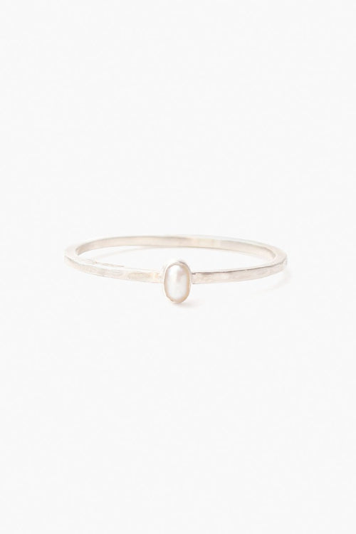 Petite White Freshwater Pearl Stacker Ring