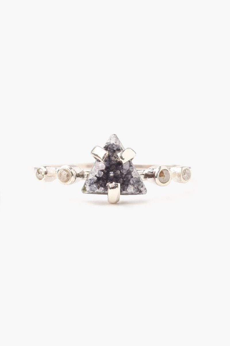 Natural Black Agate Champagne Diamond Ring