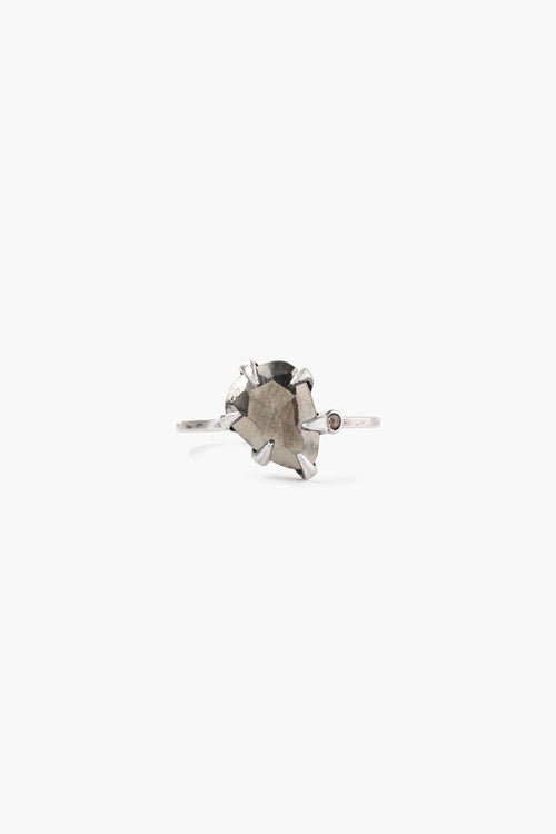 Pyrite Arrowhead and Champagne Diamond Ring