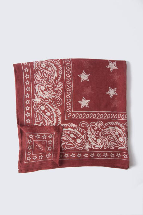 Red Pear White Swan Star Print Bandana