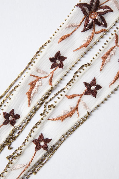 Red Pear Mix Star Floral Embroidered Skinny Scarf
