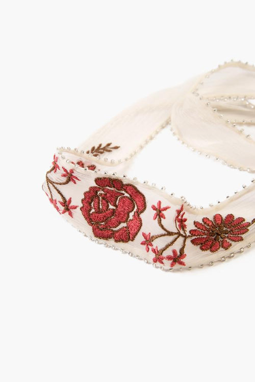 White Swan Floral Embroidered Choker