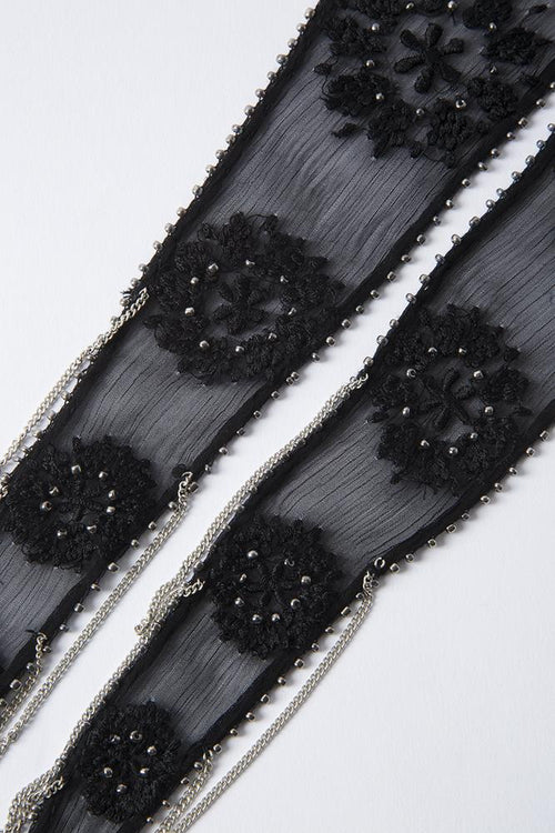 Black Gunmetal Snowflake Embroidered Necktie