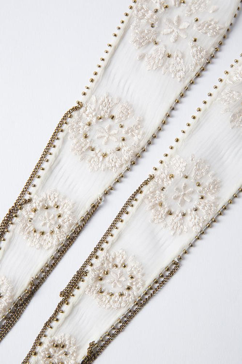 White Swan Antique Gold Snowflake Embroidered Necktie