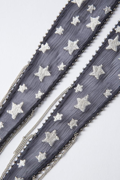 Ebony Star Embroidered Necktie