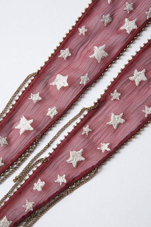 Red Pear Star Embroidered Necktie