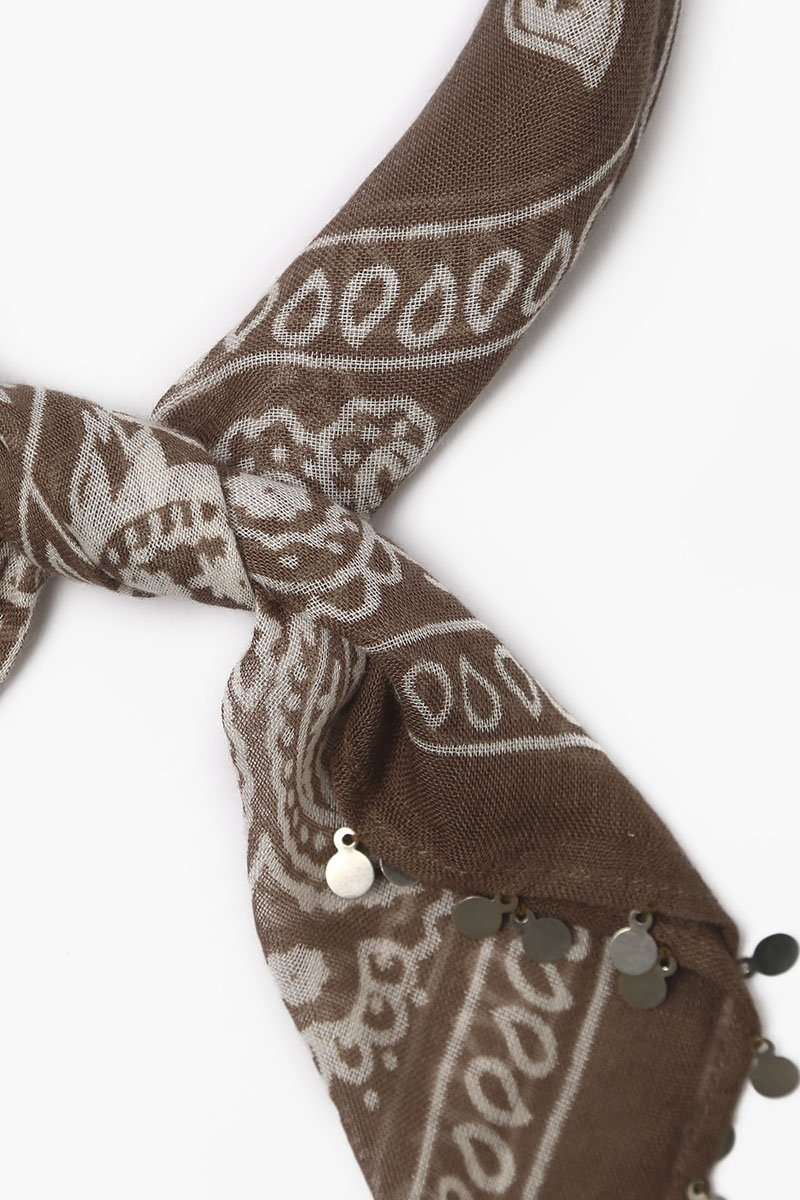 Chocolate Chip Print Bandana With Coins