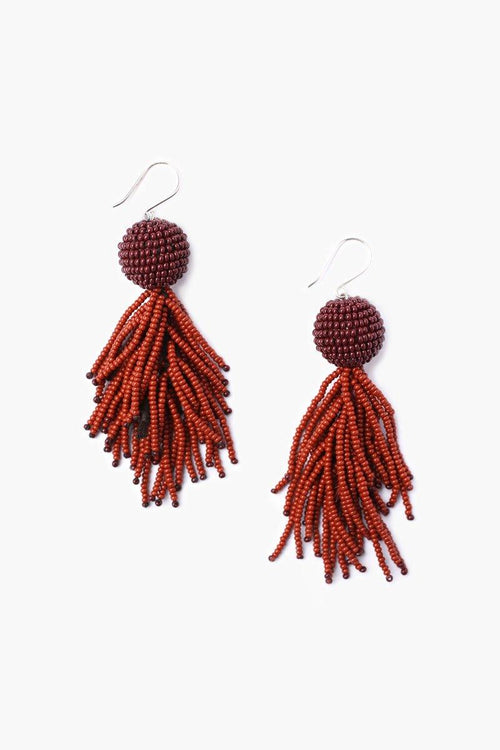 Brown Mix Seed Bead Pom Pom and Fringe Earrings