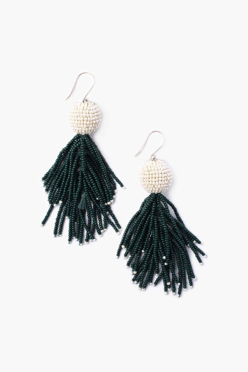 Dark Green Seed Bead Pom Pom and Fringe Earrings