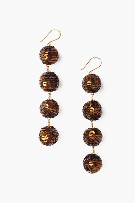 Antique Gold Combo Four Tiered Sequin Pom Pom Earrings