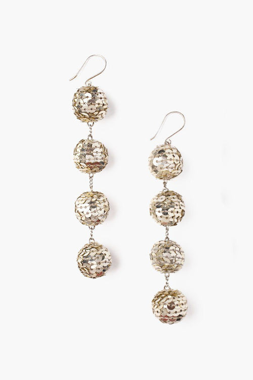 Light Gold Combo Four Tiered Sequin Pom Pom Earrings