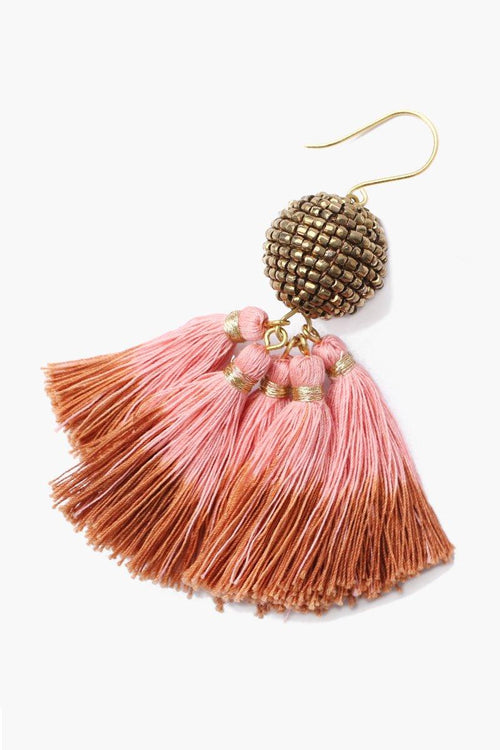 Ash Rose Beaded Ball Earrings With Dip-Dyed Tassels