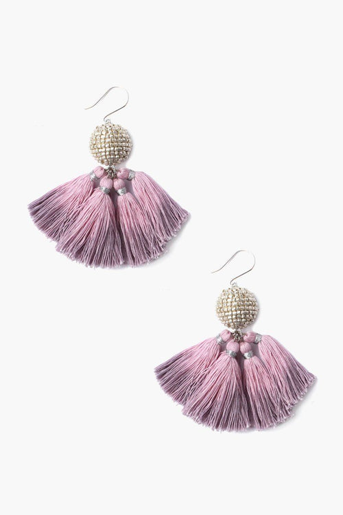 Cloud Grey Beaded Ball Earrings With Dip-Dyed Tassels