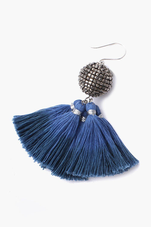 Dark Denim Beaded Ball Earrings With Dip-Dyed Tassels