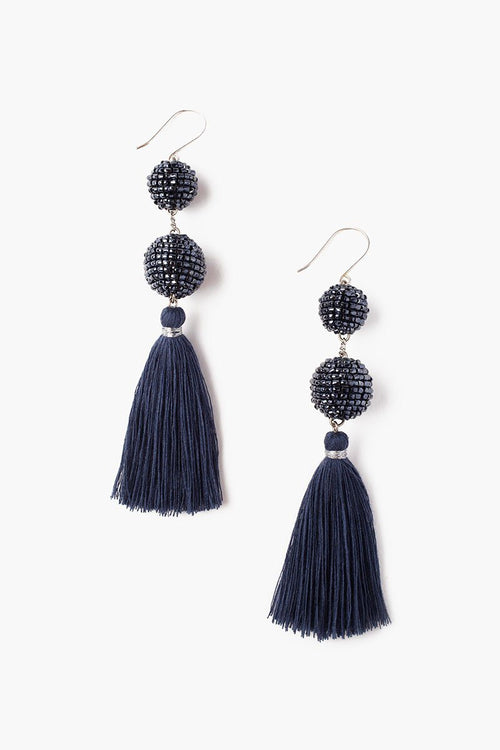 Blue Indigo Sequin Pom Pom Tassel Earrings