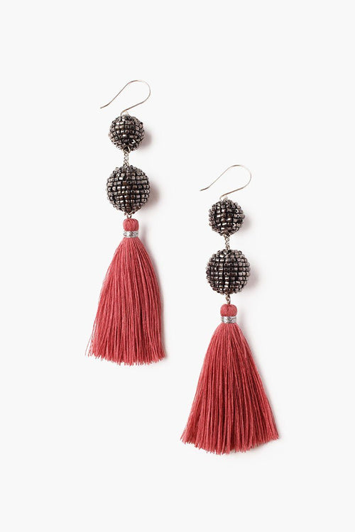 Renaissance Rose Beaded Pom Pom Tassel Earrings