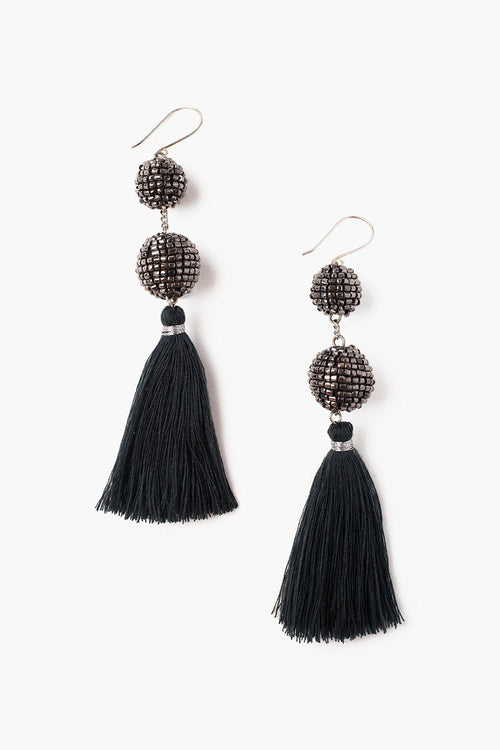Urban Chic Sequin Beaded Pom Pom Tassel Earrings