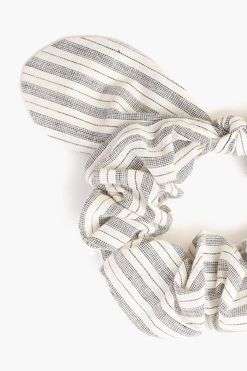 Natural Stripe Bow Scrunchie
