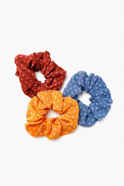 Set of Three Dot Print Scrunchies