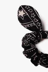 Black Star Scrunchie With Bow Detail