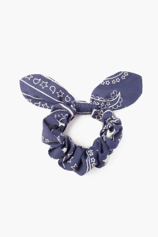 Blue Indigo Star Scrunchie With Bow Detail