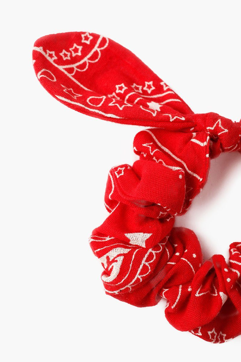 Pompeian Red Star Scrunchie With Bow Detail