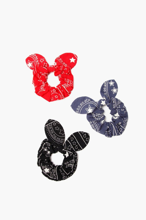 Set of Three Scrunchies With Bow Detail