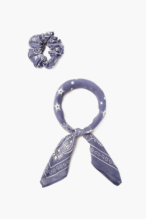 Blue Indigo 2-in-1 Scrunchie With Bandana