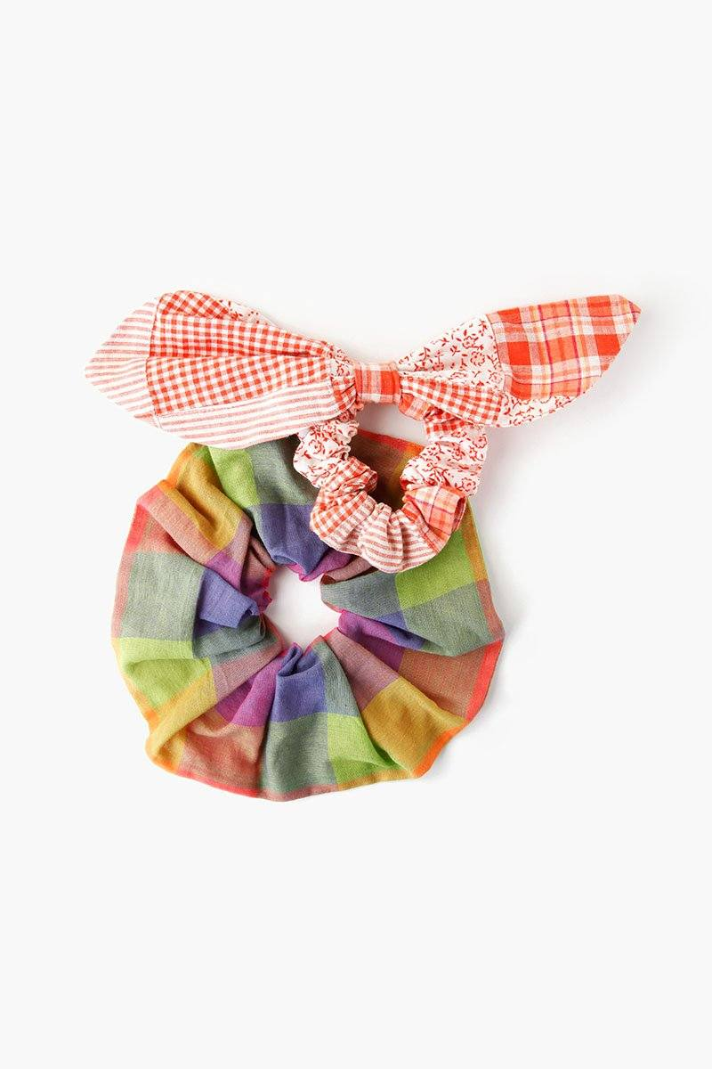 Set of Two Dusty Orange Patchwork Scrunchies