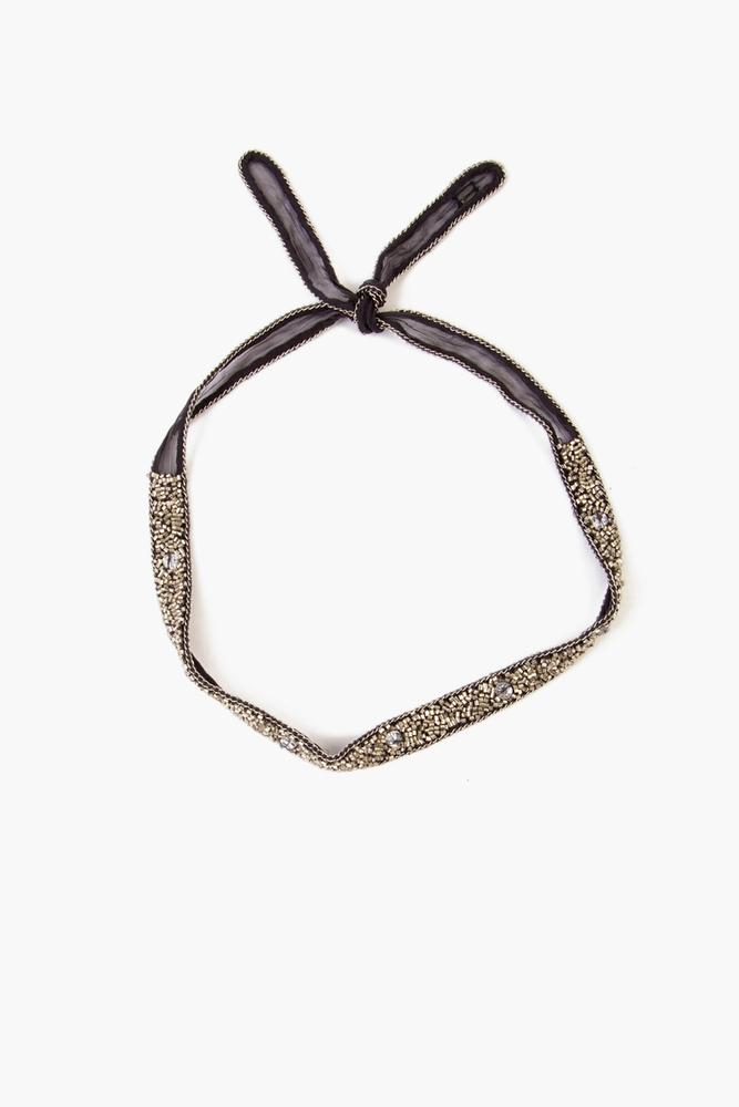 Ebony Silver Fully Beaded Choker