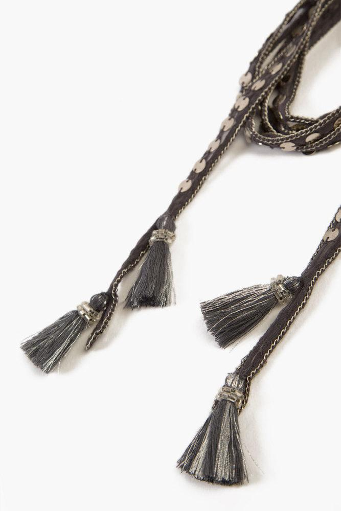 Ebony Silver Sequin and Metallic Tassel Necktie