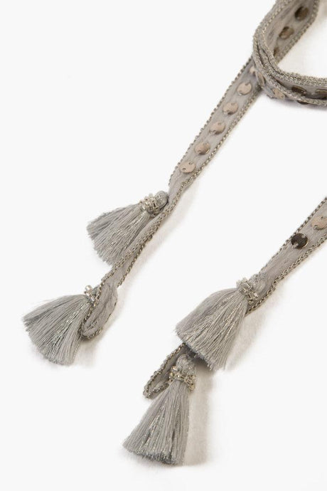 Harbor Mist Sequin and Metallic Tassel Necktie