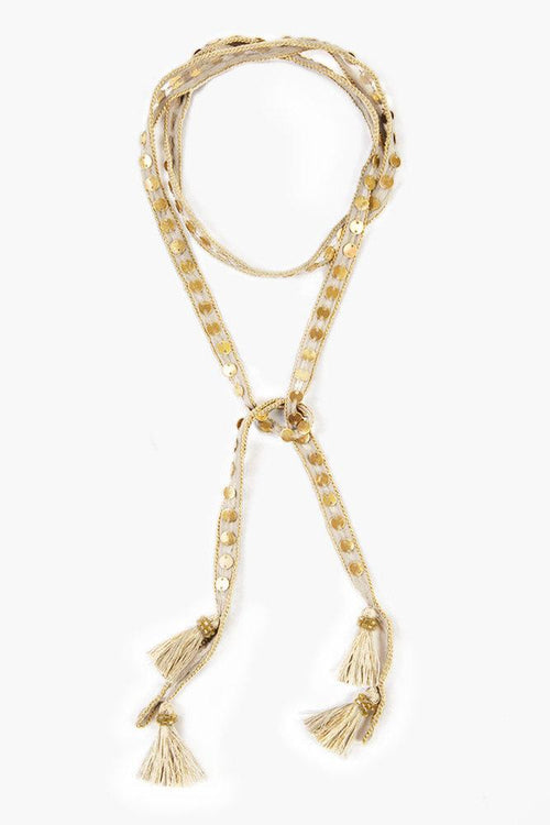 White Swan Gold Sequin and Metallic Tassel Necktie