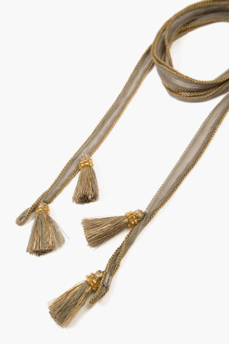 Vetiver Gold Metallic Tassel Necktie